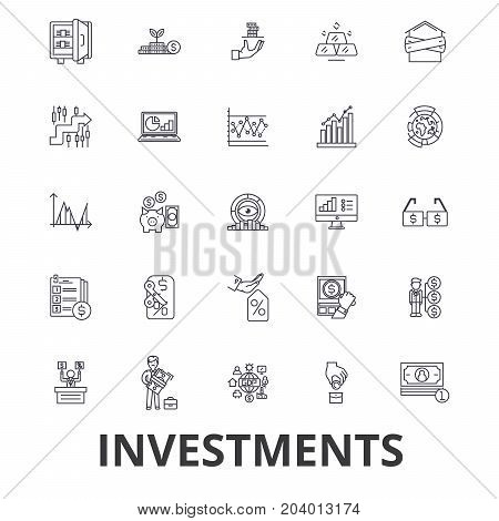Investment, finance, money, investor, stock market, savings, business, bank line icons. Editable strokes. Flat design vector illustration symbol concept. Linear signs isolated on white background