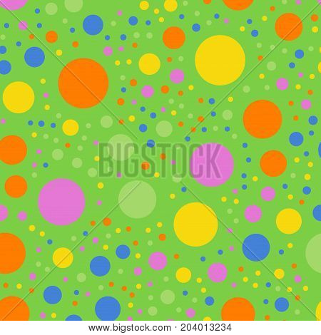 Colorful Polka Dots Seamless Pattern On Bright 2 Background. Remarkable Classic Colorful Polka Dots