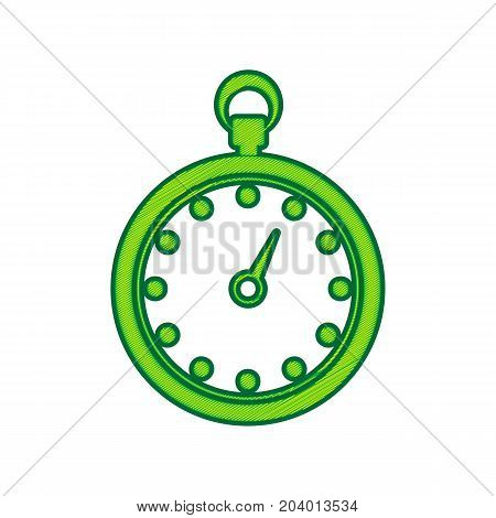 Stopwatch sign illustration. Vector. Lemon scribble icon on white background. Isolated