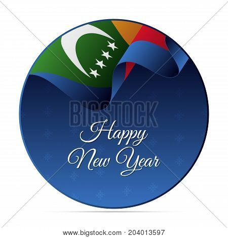 Happy New Year banner or sticker. Comoros waving flag. Snowflakes background. Vector illustration.