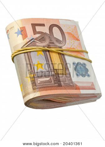 lot of 50-euro banknotes under rubber band poster