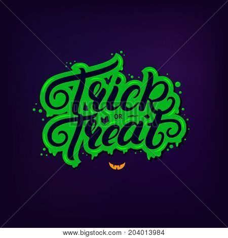 Trick or treat hand written lettering quote. Modern brush calligraphy trick or treat. Halloween inspirational phrase with green zombie background for card, poster. Vector illustration.