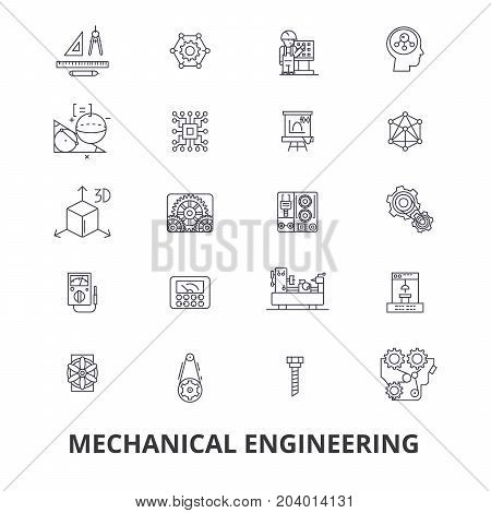 Mechanical engineering, mechanic, electrical, gears, electronic, car mechanic line icons. Editable strokes. Flat design vector illustration symbol concept. Linear signs isolated on white background