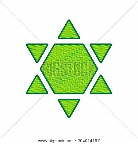 Shield Magen David Star Inverse. Symbol of Israel inverted. Vector. Lemon scribble icon on white background. Isolated