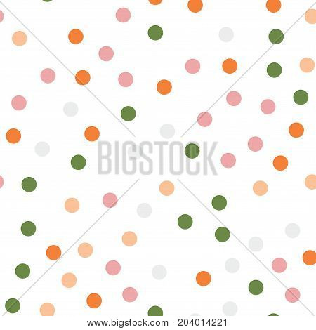 Colorful Polka Dots Seamless Pattern On Black 14 Background. Overwhelming Classic Colorful Polka Dot