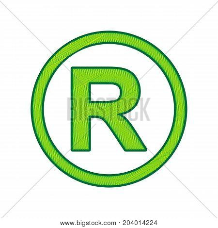 Registered Trademark sign. Vector. Lemon scribble icon on white background. Isolated