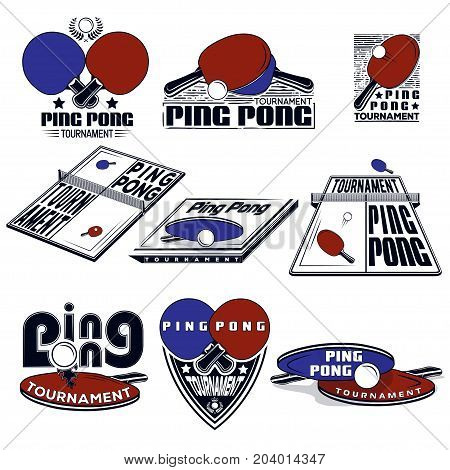 Set the logos of the ping pong tournament for your print design and the internet. Vector illustrations