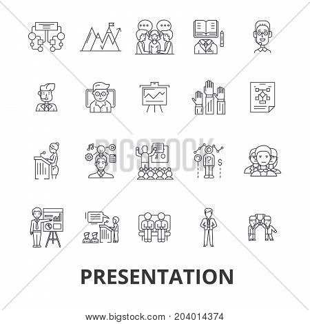 Presentation, business, presenter, meeting, conference, seminar, speaker, speech line icons. Editable strokes. Flat design vector illustration symbol concept. Linear signs isolated on white background