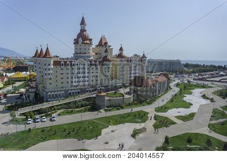Sochi, Russia - September 11, 2017: Hotel Bogatyr at the Olympic Park on September 11, 2017