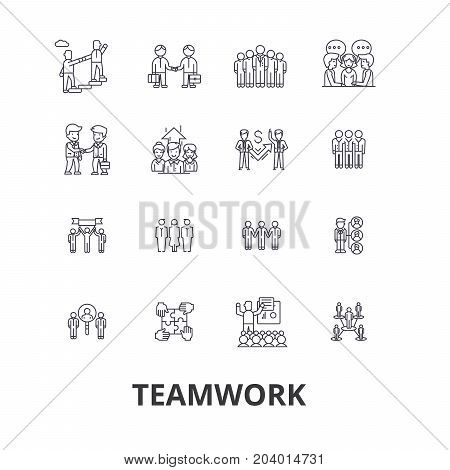 Teamwork, team, concept, working together, collaboration, success, partnership line icons. Editable strokes. Flat design vector illustration symbol concept. Linear signs isolated on white background