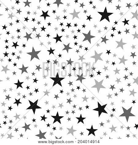 Black Stars Seamless Pattern On White Background. Charming Endless Random Scattered Black Stars Fest