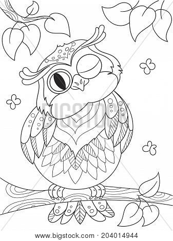 Cartoon coloring book. Funny owl on the tree. Black lines, white background. Vector illustration