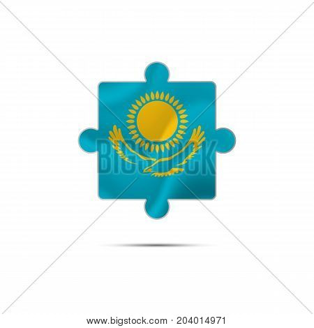 Isolated piece of puzzle with the Kazakhstan flag. Vector illustration.