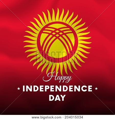 Banner or poster of Kyrgyzstan independence day celebration. Waving flag. Vector illustration.