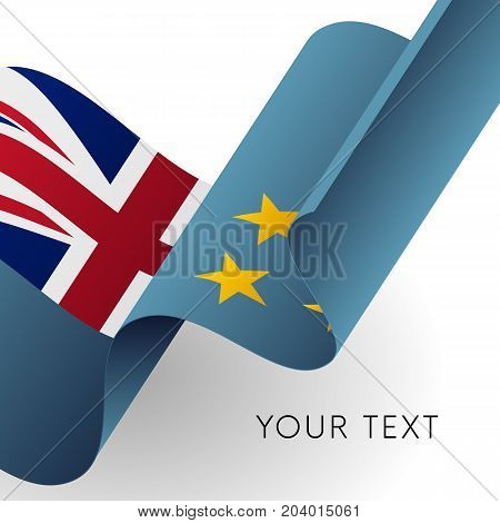 Tuvalu flag. Patriotic design. Waving flag. Vector illustration.