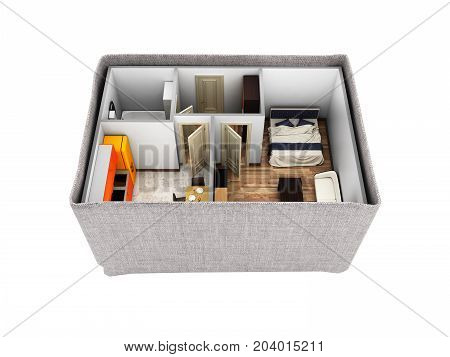 Interior Apartment Roofless Apartment Layout Inside The Box Concept Of Buying A Home Or Moving 3D Re