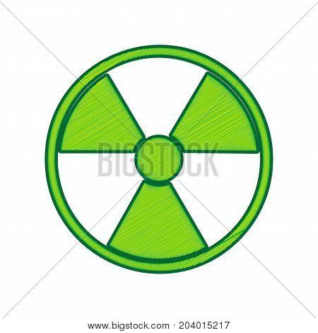 Radiation Round sign. Vector. Lemon scribble icon on white background. Isolated