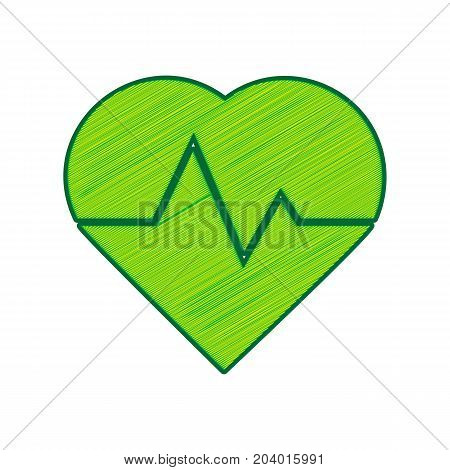 Heartbeat sign illustration. Vector. Lemon scribble icon on white background. Isolated