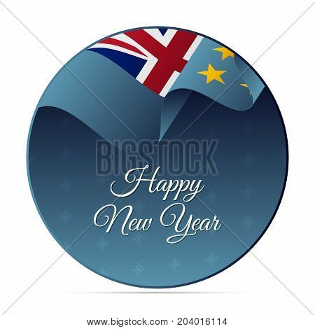 Happy New Year banner or sticker. Tuvalu waving flag. Snowflakes background. Vector illustration.