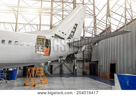Aircraft In The Hangar In The Maintenance Of Plating, Interior, Tail Repair