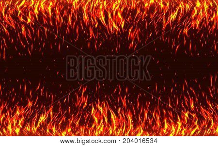 Blaze Fire flames with sparks isolated on black background. Hot realistic fire texture. Glowing particles on a dark background. Danger of fire backdrop. Fire energy. Vector illustration