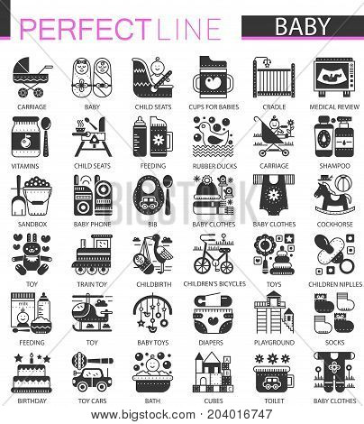 Baby classic black mini concept symbols. Baby modern icon illustrations set