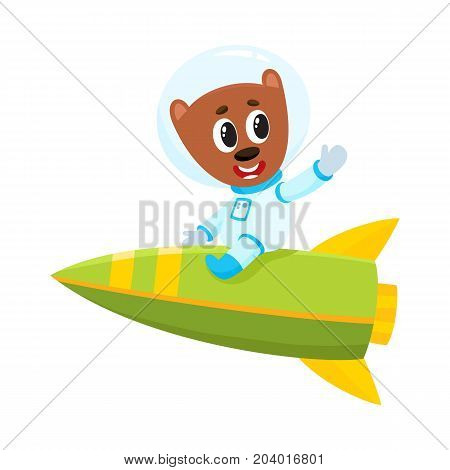 Cute little teddy bear astronaut, spaceman character riding a rocket, cartoon vector illustration isolated on white background. Baby teddy bear astronaut, spaceman in spacesuit riding rocket in space