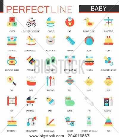 Vector set of flat Baby care, toy, clothes and feeding icons
