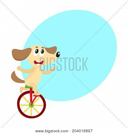 Cute little dog, puppy character riding bicycle, tricycle, cycling, cartoon vector illustration with space for text. Little baby dog, puppy animal character riding bike, bicycle, unicycle