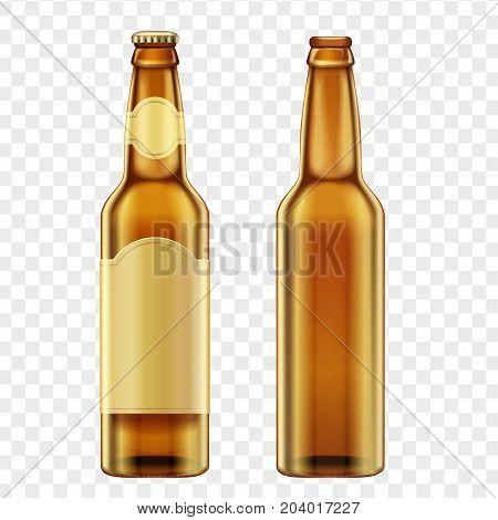 Realistic golden brown bottles of beer on alpha transperant background. Vector illustration
