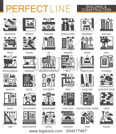 Building, construction and home repair tools classic black mini concept symbols. Vector modern icon pictogram illustrations set