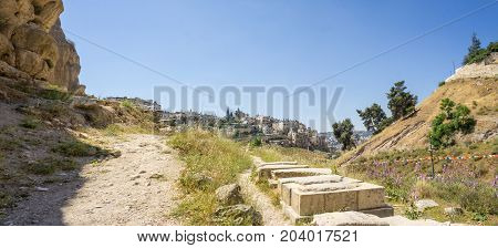 View of the Kidron Valley or King's Valley near the walls of the Old City of Jerusalem, Israel