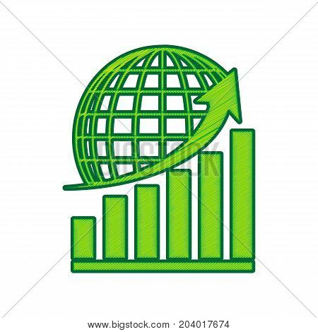 Growing graph with earth. Vector. Lemon scribble icon on white background. Isolated