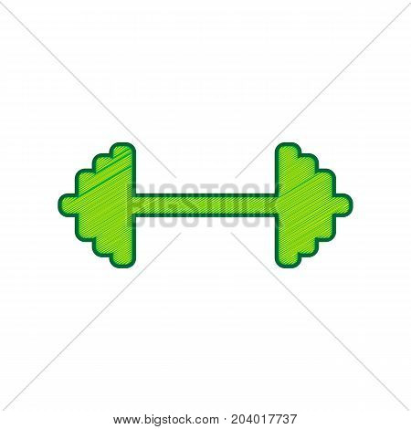 Dumbbell weights sign. Vector. Lemon scribble icon on white background. Isolated