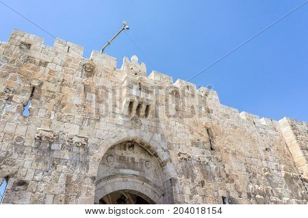 The Lion's Gate with stone lions - decorative details on the gate in Old City of Jerusalem, Israel
