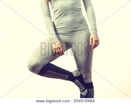 Fit Female Legs Wearing Thermoactive Underwear