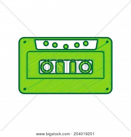 Cassette icon, audio tape sign. Vector. Lemon scribble icon on white background. Isolated