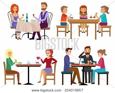 Eating people set. Couple friends family children and businessman sitting in restaurant cafe or bar isolated. Cartoon vector illustration