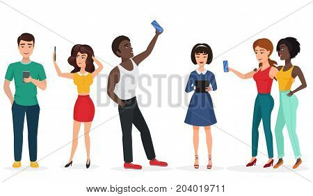 People with gadgets making selfie. Guys and girls, communicating by phone and tablets. Cartoon vector illustration