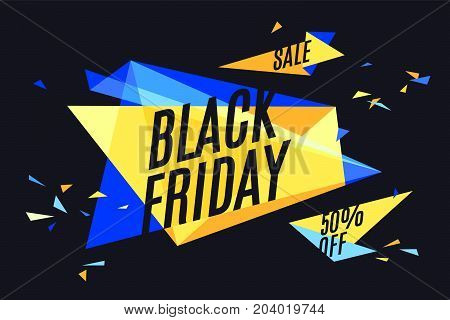 Banner with text Black Friday, Sale, 50 off. Design element for sale theme, shop, market. Poster for sale and discount on color and black background. Geometric graphic design. Vector Illustration