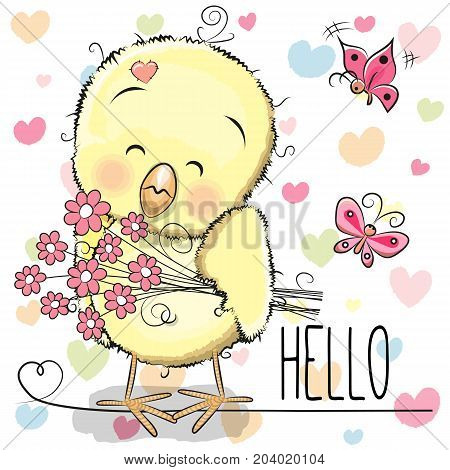 Greeting card cute Chicken with flowers on the hearts background
