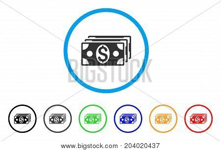 Dollar Banknotes icon. Vector illustration style is a flat iconic dollar banknotes gray rounded symbol inside light blue circle with black, gray, green, blue, red, orange color variants.