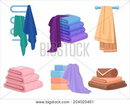 Vector Towels set. Cloth towel for bath. Cartoon Vector illustration