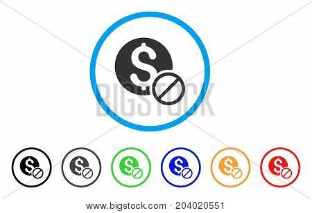 Free Of Charge icon. Vector illustration style is a flat iconic free of charge gray rounded symbol inside light blue circle with black, gray, green, blue, red, orange color versions.