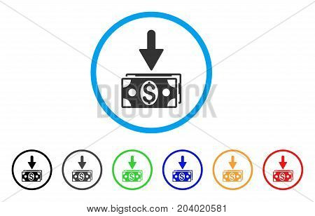 Get Dollar Banknotes icon. Vector illustration style is a flat iconic get dollar banknotes grey rounded symbol inside light blue circle with black, gray, green, blue, red, orange color variants.