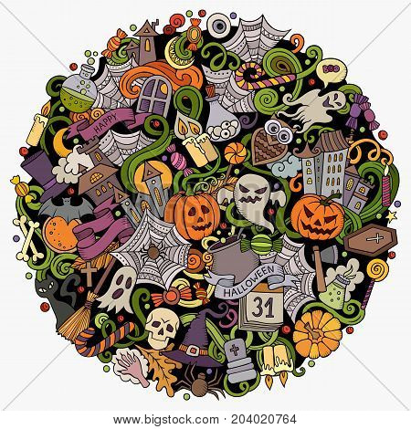 Cartoon vector doodles Happy Halloween illustration. Colorful, detailed, with lots of objects background. All objects separate. Bright colors funny round picture