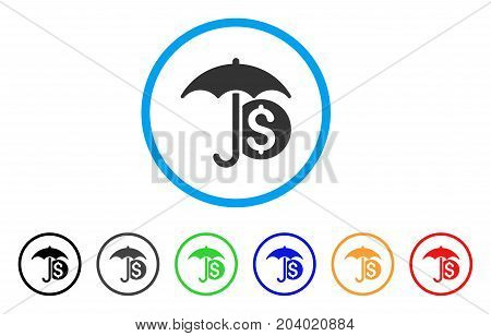 Money Umbrella Protection icon. Vector illustration style is a flat iconic money umbrella protection grey rounded symbol inside light blue circle with black, gray, green, blue, red,