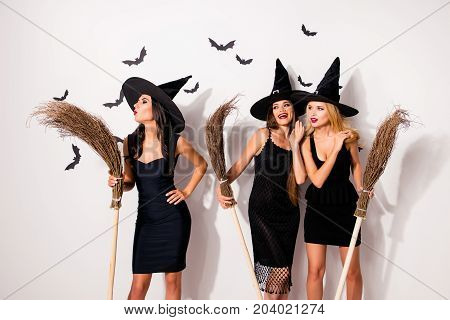 Group Of Three Hot Mysterious Scary Elegant Wizards, Holding Brooms, Doind Conjure, Blow With Pouted
