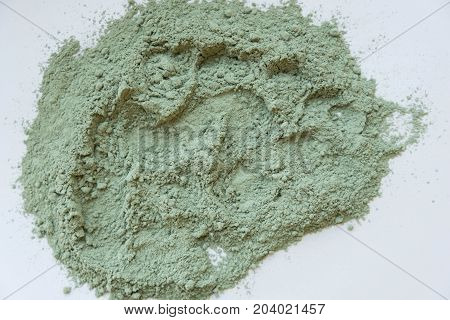 Green Cosmetic Clay Powder. Natural Clay Mask For Face And Body. Green Cosmetic Clay Texture Close U