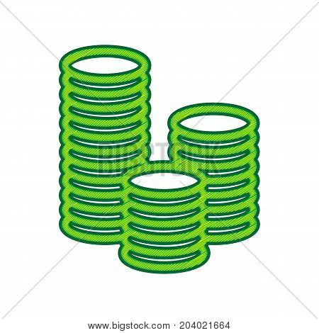 Money sign illustration. Vector. Lemon scribble icon on white background. Isolated